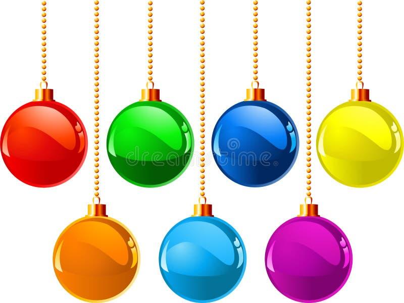 Weihnachtsfarbenkugeln lizenzfreie abbildung