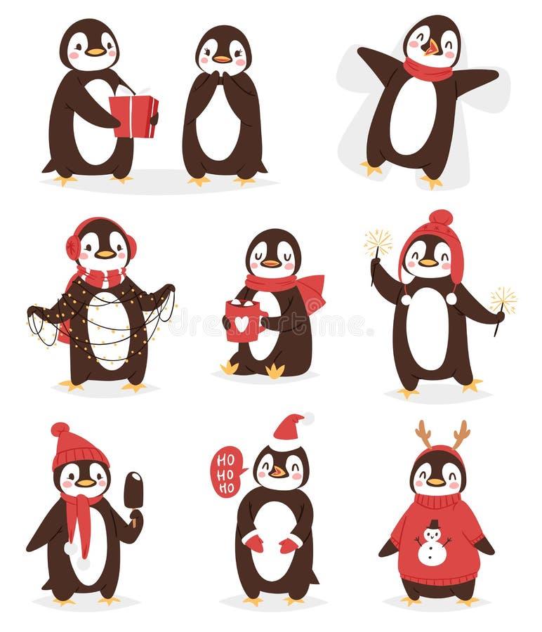 Weihnachtsfeiern netter Pinguinvektorcharakter-Karikaturvogel Weihnachtshaltungen - spielen Sie, Fliege und glückliches Pinguinge vektor abbildung