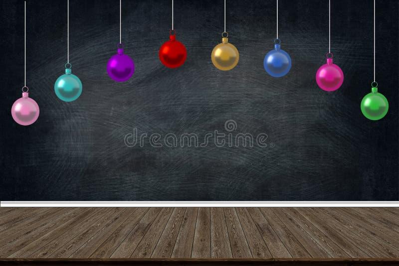 Weihnachtsfeiertags-Bälle verziert das Hängen in der Klasse der Schule auf Tafelhintergrund Bildkopienraum für Kunstwerkdesign lizenzfreies stockfoto