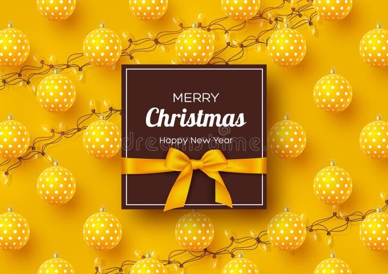Weihnachtsfeiertags-Fahne Realistischer Flitter 3d mit geometrischem Muster, Girlanden und Aufkleber mit silk Bogen Gelbes neues  vektor abbildung