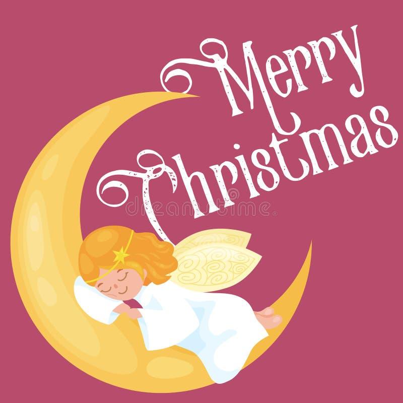 Weihnachtsfeiertags-Fliegenengel mit Flügeln schlafen auf dem Mond wie Symbol im Vektor der christlichen Religion oder des neuen  vektor abbildung