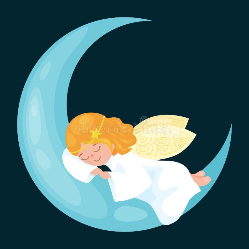 Weihnachtsfeiertags-Fliegenengel mit Flügeln schlafen auf dem Mond wie Symbol im Vektor der christlichen Religion oder des neuen  stock abbildung