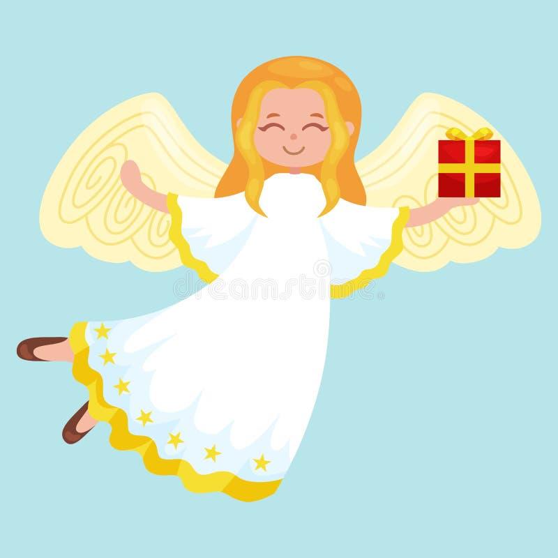 Weihnachtsfeiertags-Fliegenengel mit Flügeln und Geschenkkasten mögen Symbol im Vektor der christlichen Religion oder des neuen J stock abbildung