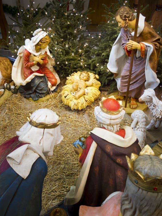Weihnachtsfeiertags-Krippe mit Fokus auf dem Baby Jesus lizenzfreies stockbild