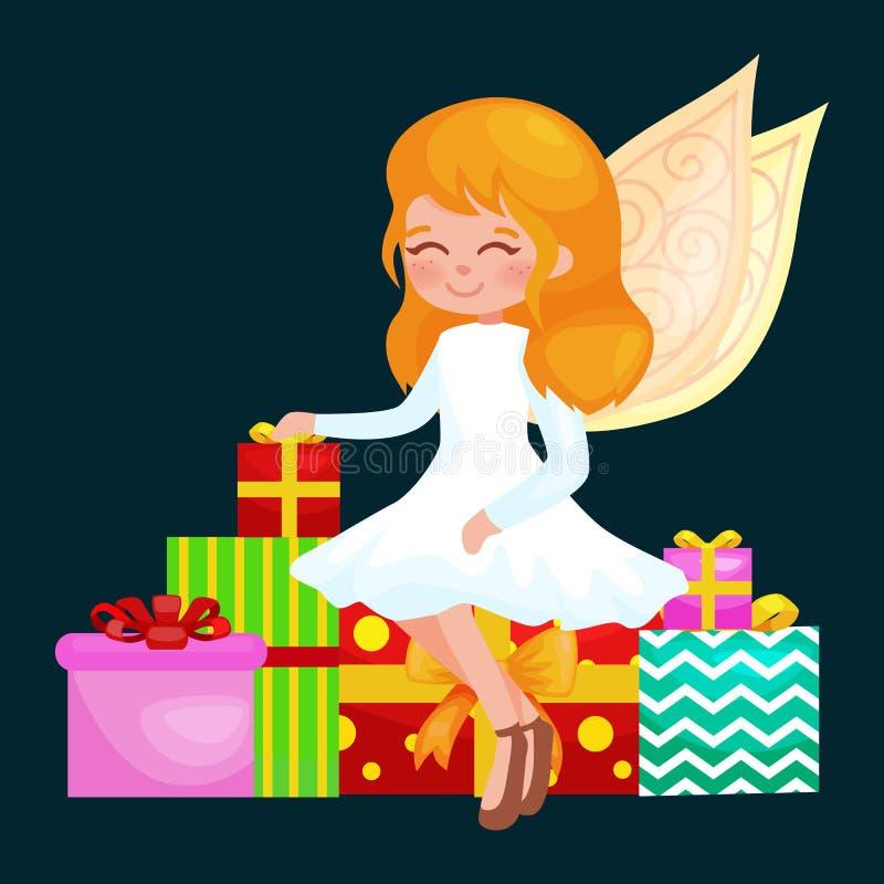 Weihnachtsfeiertags-Mädchenengel mit Flügeln und Geschenkkasten mögen Symbol in der Vektorillustration der christlichen Religion  vektor abbildung