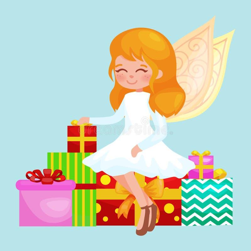 Weihnachtsfeiertags-Mädchenengel mit Flügeln und Geschenkkasten mögen Symbol in der Vektorillustration der christlichen Religion  lizenzfreie abbildung