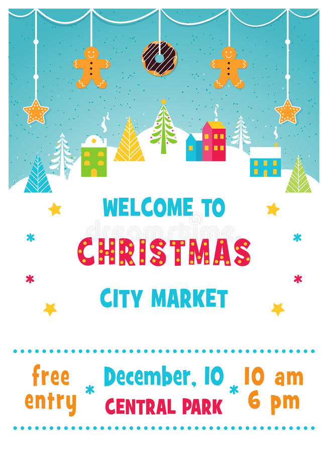 Weihnachtsfeiertags-Markt oder angemessenes Plakat mit Landschaft des verschneiten Winters Stadt, Bäumen und Lebkuchen-Plätzchen- vektor abbildung