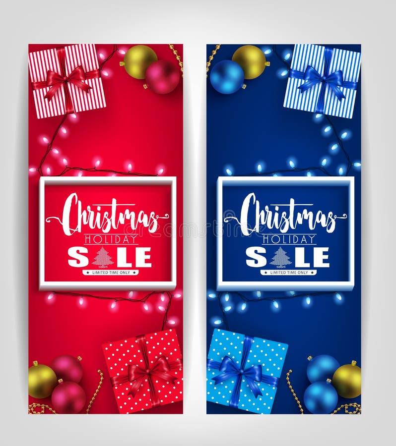 Weihnachtsfeiertags-Verkaufs-Plakat-oder Tag-Designe stellten mit 3D Rahmen, Geschenke ein vektor abbildung