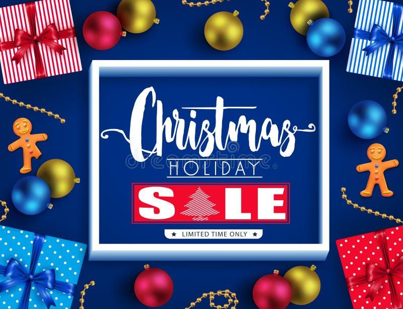 Weihnachtsfeiertags-Verkaufs-realistisches Plakat-Design mit 3D Rahmen, Ginger Man stock abbildung