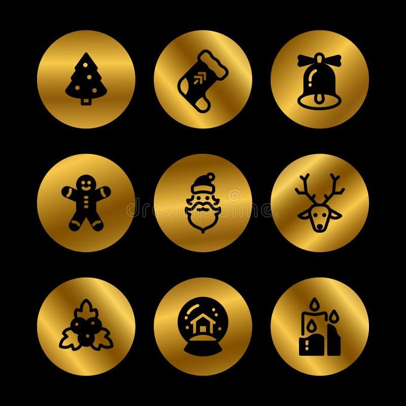 Weihnachtsfeiertagssymbole Winterweihnachtsschattenbildschwarzikonen lizenzfreie abbildung