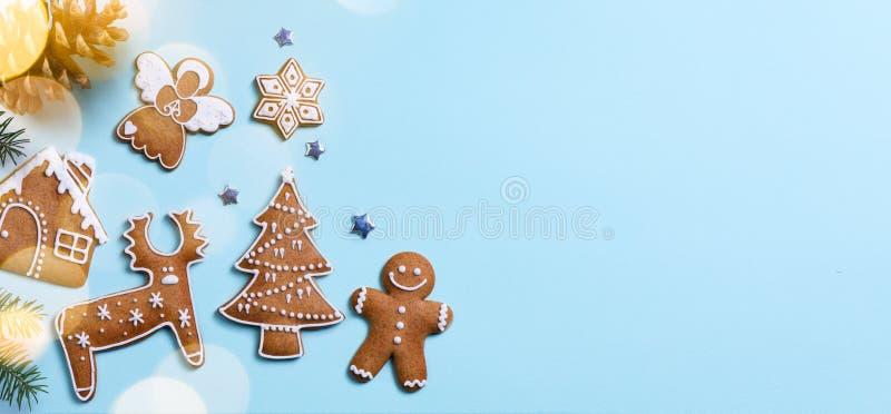 Weihnachtsfeiertagsverzierungs-Ebenenlage; Weihnachtskartenhintergrund stockbild