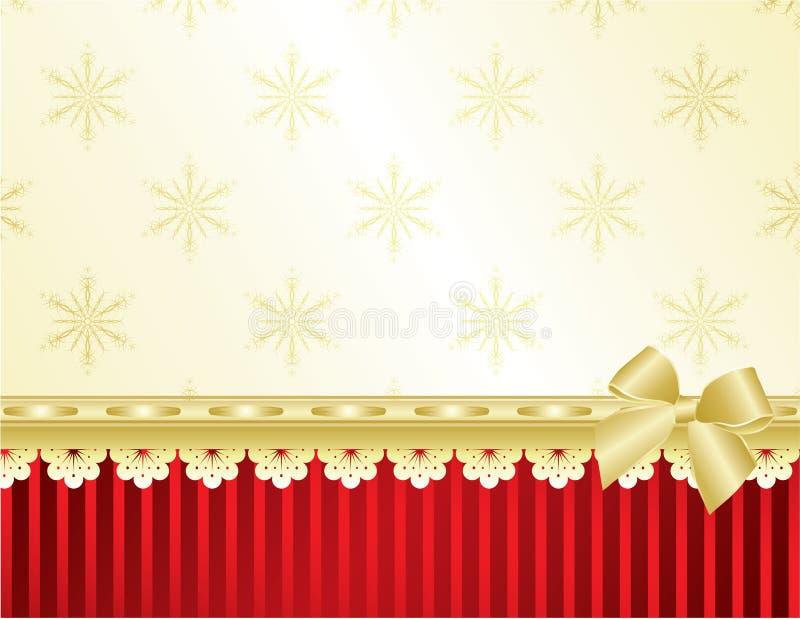 Weihnachtsfeld auf roter Wand stock abbildung