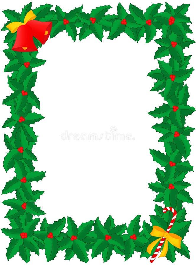 Weihnachtsfeld der Stechpalme mit Glocken u. Süßigkeitsteuerknüppel stock abbildung