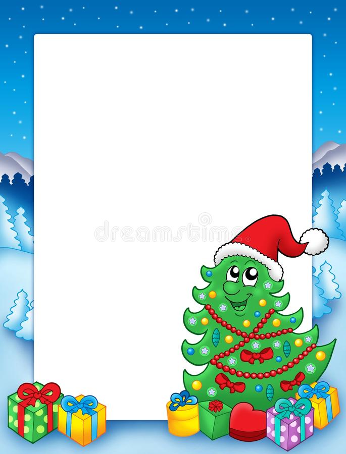 Weihnachtsfeld mit Baum 3 lizenzfreie abbildung