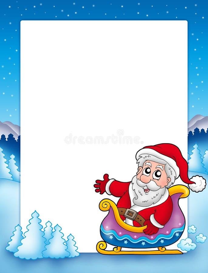 Weihnachtsfeld mit Sankt auf Schlitten lizenzfreie abbildung