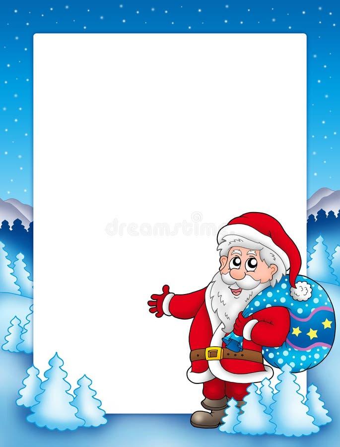 Weihnachtsfeld mit Weihnachtsmann 1 stock abbildung