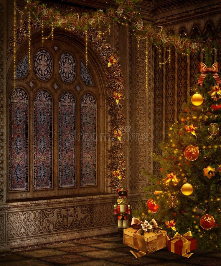 Weihnachtsfenster stock abbildung