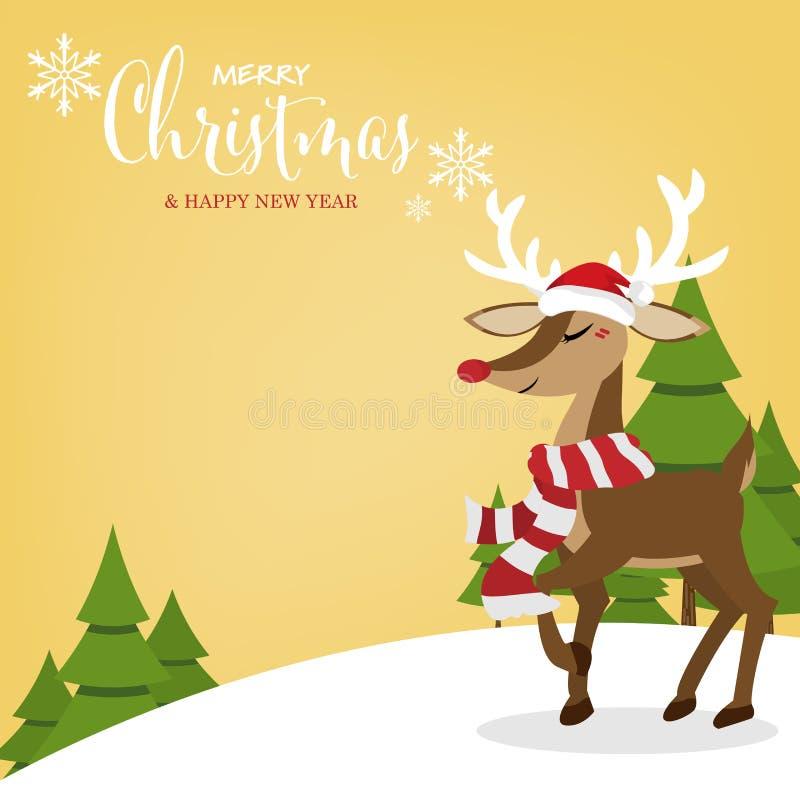 Weihnachtsferienzeithintergrund mit nettem Ren in Sankt-Hut auf Schneehügel mit Kiefer stock abbildung