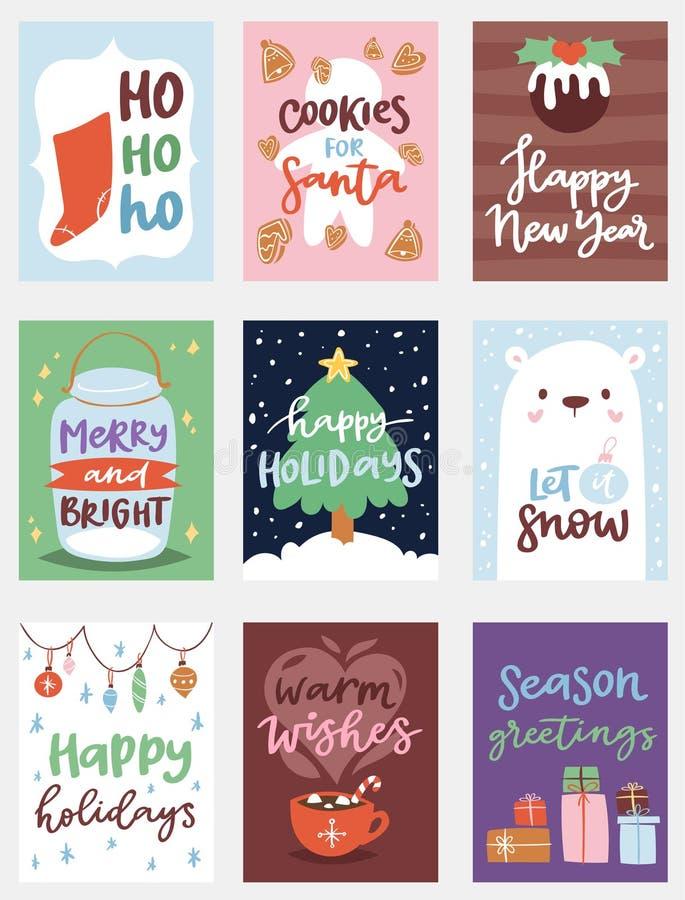 Weihnachtsfest invintation Vektor-Kartendesignschablone für noel Weihnachtsfeiertagsfeier clipart neues Jahr Santa Claus vektor abbildung
