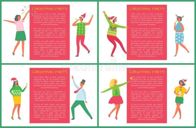 Weihnachtsfest-Plakate stellten die Leute ein, die Spaß haben lizenzfreie abbildung