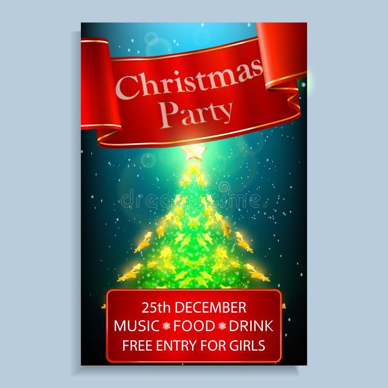 Weihnachtsfesteinladung Helles Weihnachtsplakat mit Goldsternen und rotem Band lizenzfreie stockfotos