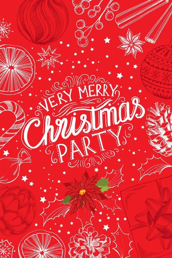 Weihnachtsfesteinladung, Lebensmittelmenürestaurant lizenzfreie abbildung