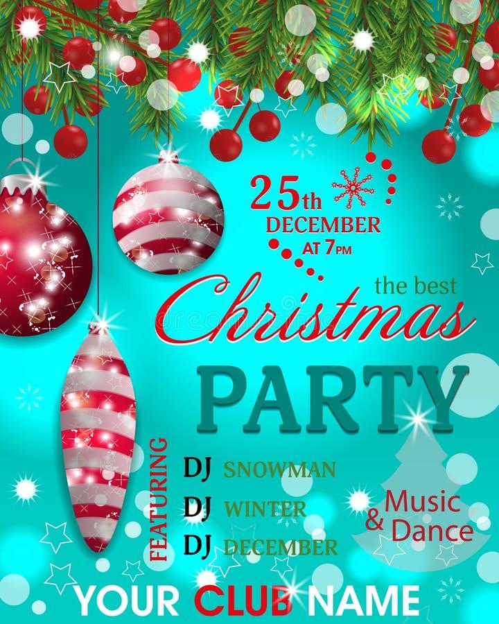 Weihnachtsfesteinladungsschablone Türkishintergrund mit Tannenzweigen, Stechpalmenbeere und rotem Flitter Vektor vektor abbildung