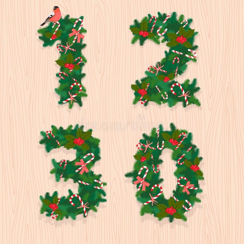 Weihnachtsfestliche Kranzzahlen: 1, 2, 3, 0 Hölzerner Hintergrund vektor abbildung