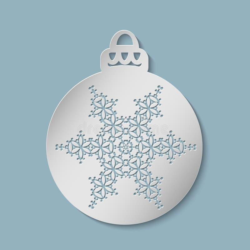 Weihnachtsfestlicher Ball herausgeschnitten vom Papier vektor abbildung