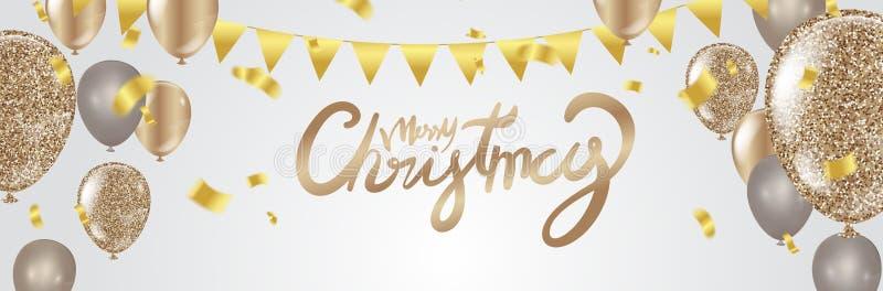 Weihnachtsfestplakat Schablone und guten Rutsch ins Neue Jahr-Partei glanz lizenzfreie abbildung