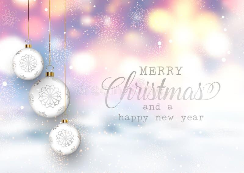 Weihnachtsflitter auf einem defocussed schneebedeckten Hintergrund stock abbildung