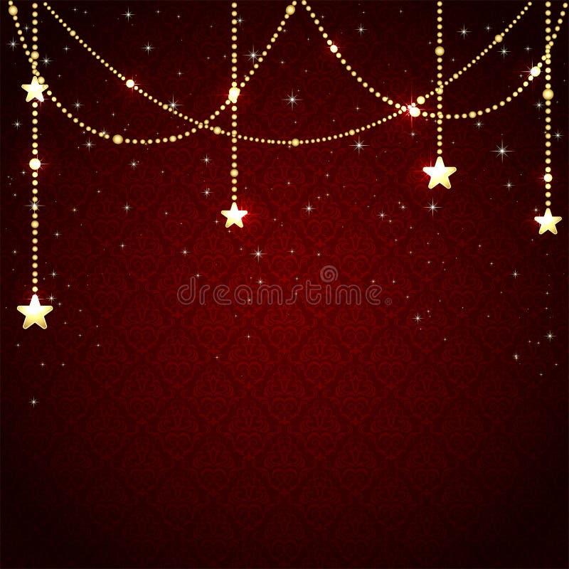 Weihnachtsflitter auf rotem Hintergrund vektor abbildung