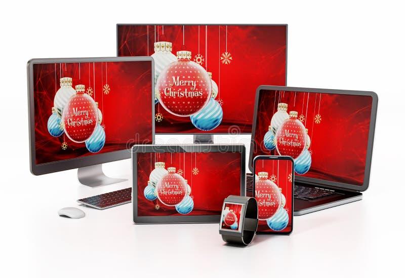 Weihnachtsflitterhintergrund auf intelligentem Fernsehen, Monitor, Tablet-Computer, PC, Smartphone und Laptop-Computer lizenzfreie abbildung