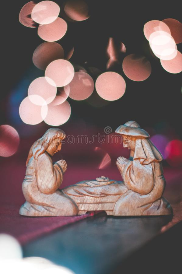 Weihnachtsfoto der Krippe stockbilder