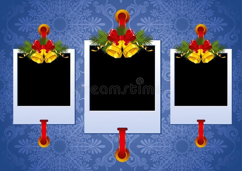 Weihnachtsfotofeld mit Glocken lizenzfreie abbildung
