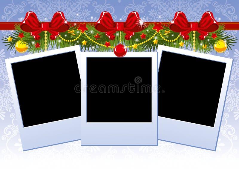 Weihnachtsfotofeld mit rotem Bogen stock abbildung