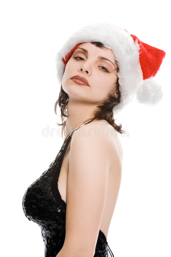 Weihnachtsfrau in der roten Schutzkappe stockbilder