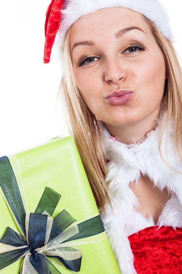 Weihnachtsfrau, die Kuss sendet lizenzfreies stockbild