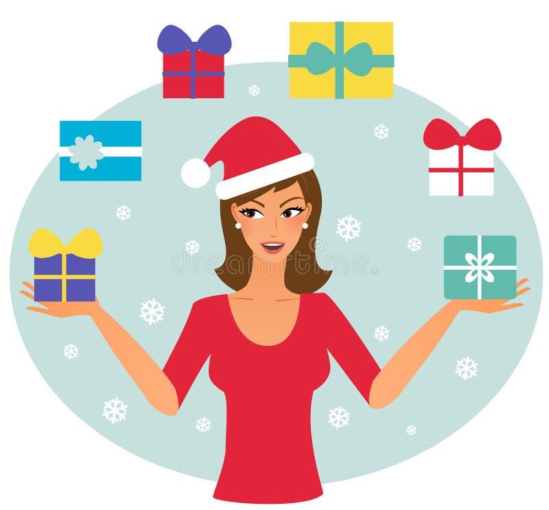 Weihnachtsfrau, die mit Weihnachtsgeschenken jongliert stock abbildung