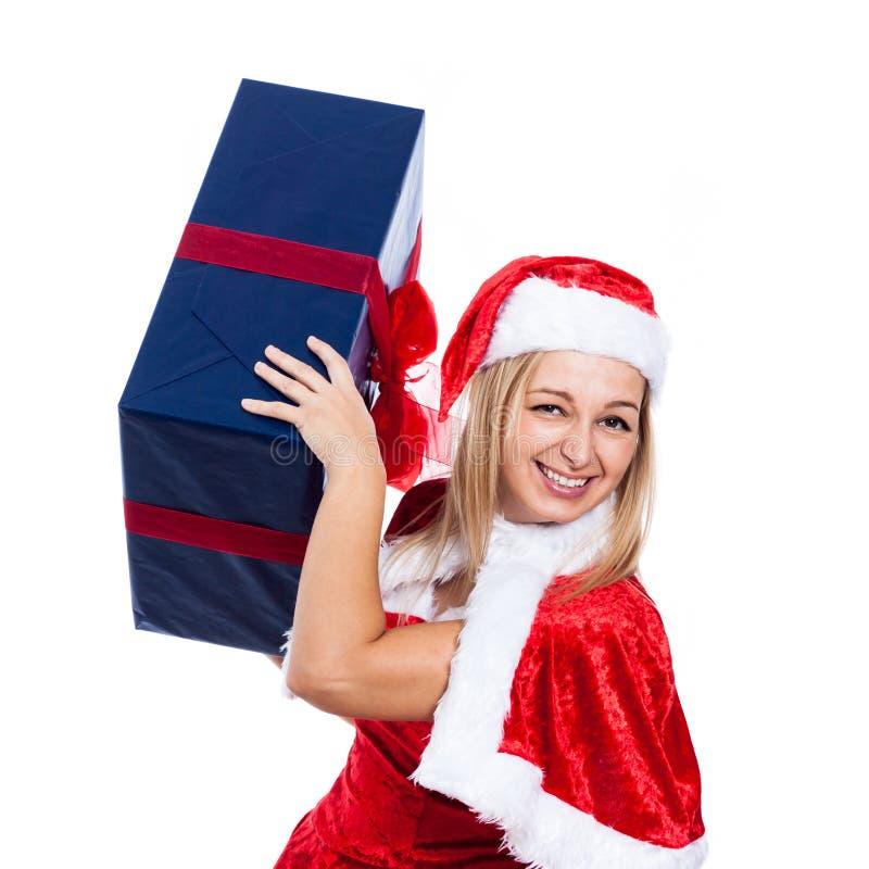 Weihnachtsfrau, die Spaß hat lizenzfreie stockbilder