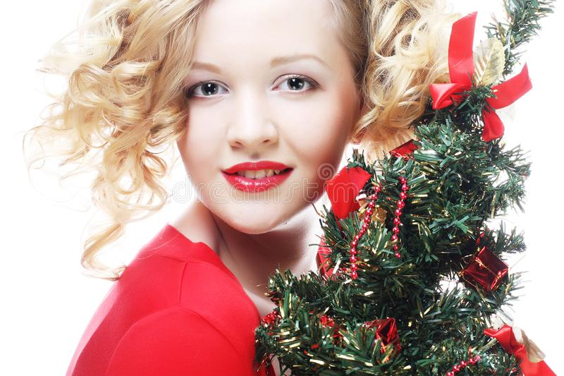 Weihnachtsfrau, glückliche Zeit, Porträt mit drei lizenzfreie stockbilder