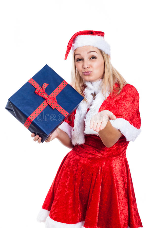Weihnachtsfrau mit anwesendem sendendem Kuss stockbilder