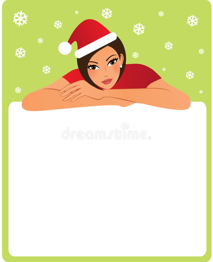 Weihnachtsfrau mit einem Kopienraum stock abbildung