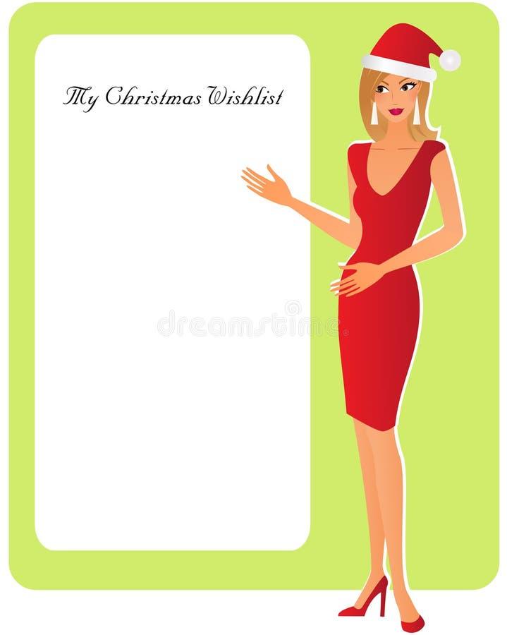 Weihnachtsfrau mit einem Kopienraum lizenzfreie abbildung