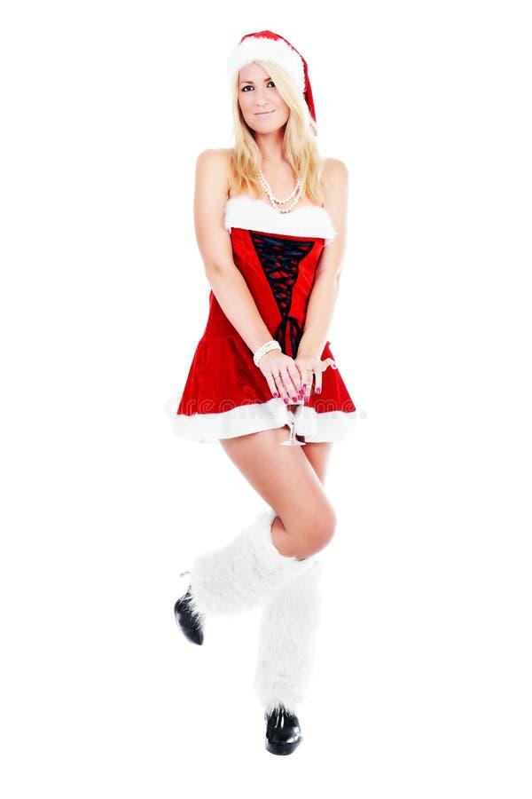 Weihnachtsfrau mit Glas Champagner lizenzfreie stockfotografie