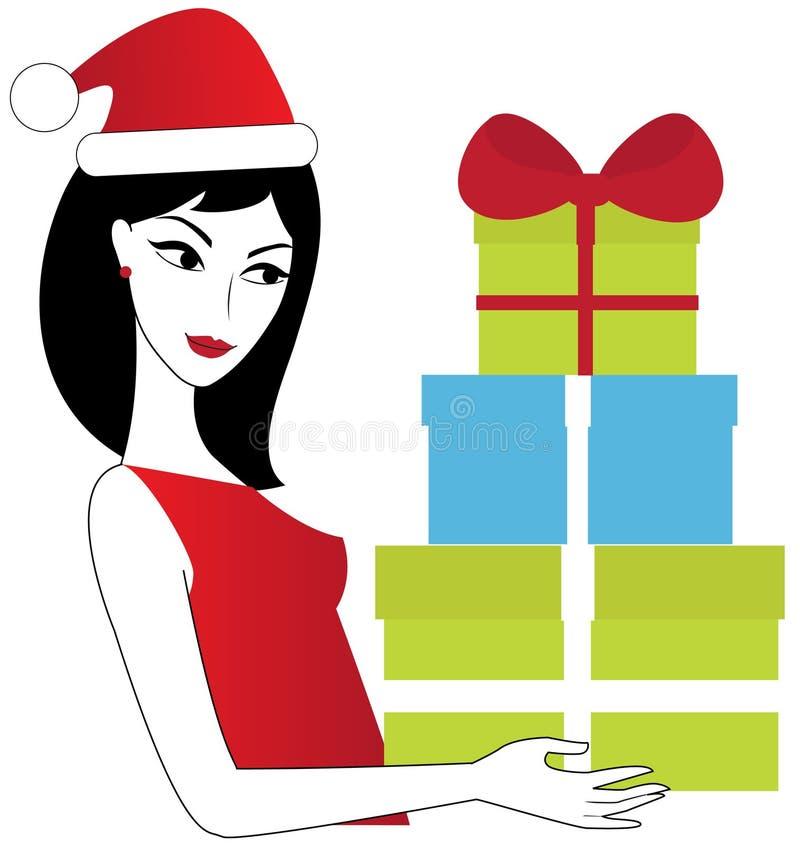 Weihnachtsfrau mit Weihnachtsgeschenken vektor abbildung