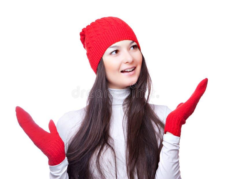 Download Weihnachtsfrauenlächeln Und Wellenartig Bewogene Hände Stockbild - Bild von knit, lächeln: 27730829