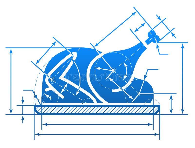 Weihnachtsganzes Truthahnsymbol mit Maßlinien vektor abbildung