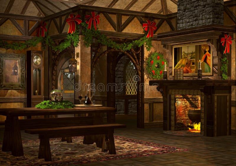 Weihnachtsgasthaus lizenzfreie abbildung
