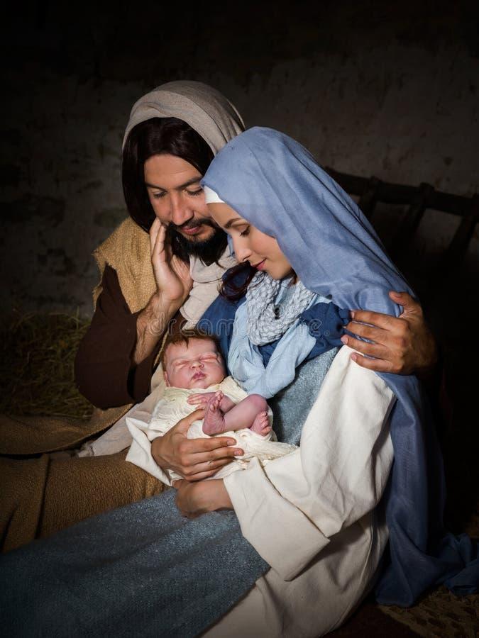 Weihnachtsgeburt christis-Krippe stockbilder